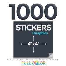 "1000 Custom Quality Vinyl STICKERS + FREE Graphics & Shipping (4"" x 4"") Square"