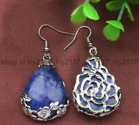 25X35MM Tibet 925 Silver Drop Lapis Lazuli Flowers Gemstone Earrings Jewelry