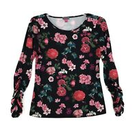 Vince Camuto Ruched Sleeve Stretch Top Blouse Womens M Black Floral LS Pullover