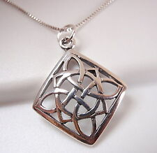 Small Celtic Square Circle & Semi Circle Design Pendant 925 Sterling Silver