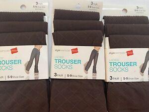 Hanes Ladies' Trouser Socks 3 pair Each 5- 9 Shoe Size Brown 9 Total