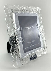 MIKASA Sweet Blossom ~ Beautiful Crystal Picture Frame Holds 5x7 Photo