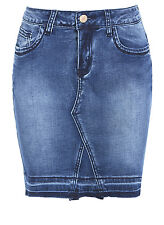 New Women Distressed Denim Stretch Skirt Blue Size 8 10 12 14