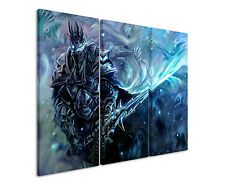 WOW Lich King 3x90x40cm 3tlg Leinwandbild Keilrahmen Fantasy Art