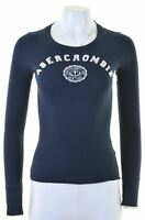 ABERCROMBIE & FITCH Womens Graphic Top Long Sleeve Size 6 XS Navy Blue Cotton