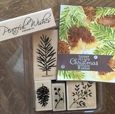Stampin Up PEACEFUL WISHES Wood stamp set ~ Pine cone, Branch, Christmas berries