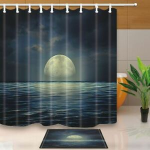 Abstract Natural Decor Sea Surface Under Night Stormy Skies Shower Curtain