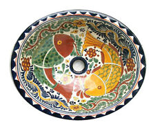 #016 LARGE BATHROOM SINK 21X17 MEXICAN CERAMIC HAND PAINT DROP IN UNDERMOUNT
