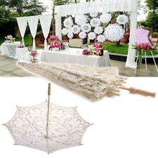 Beige Lace Parasol Umbrella Embroidered For Bridal Wedding Decoration HOT