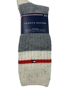 2 Pair Pack Tommy Hilfiger Men's Boot Socks Gray Wool Blend  Fits Size 7-12 Shoe