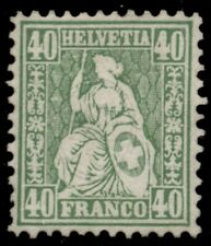 SWITZERLAND #47, 40fr green, unused no gum, scarce and VF, Scott $1,700.00