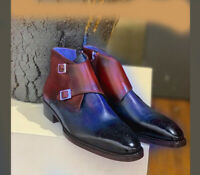 Handmade Burgundy Blue Leather Boot, Men's Double Monk Strap Brogue Dress Boots