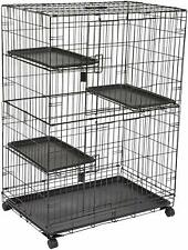 3 Tier Cat Cage Playpen Black Rust Resistant E-coat Finish Durable Metal Wire