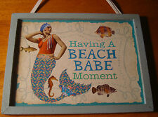 HAVING A BEACH BABE MOMENT Vintage Style MERMAID WOOD SIGN Nautical Home Decor