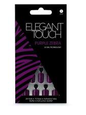 ELEGANT TOUCH 24 FULL COVER FALSE NAIL TIP PURPLE ZEBRA NAILS TIPS DESIGN