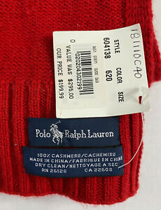 Vintage 100% Cashmere Polo Ralph Lauren Red Scarf 11.50 Wide X 74 Inches Long