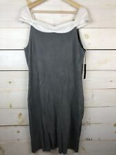 $195 NEW BCBG Maxazria Women's Grey White Sleeveless Dress XL NWT BC12765D-2