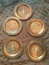 ANTIQUE HEAVY COPPER AND SILVER EGYPTIAN HIEROGLYPHIC PLATE SET EARLY 1900'S