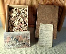 """Antique Wooden Jigsaw Puzzle """"A Day With the Hounds"""" / 200 Pc. / Hammond Co."""