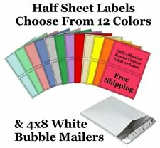 4x8 White Poly Bubble Mailer + 8.5x5.5 Half Sheet Self Adhesive Shipping Labels
