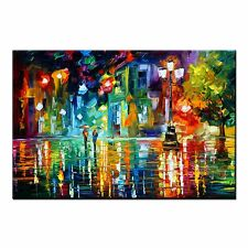 FRAMED Abstract Oil Painting CANVAS PRINT Poster Colorful Street Wall Art Decor