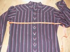 MENS WRANGLER WESTERN PEARL SNAP BUTTON SHIRT, SZ LARGE PURPLE/RED/SILVER