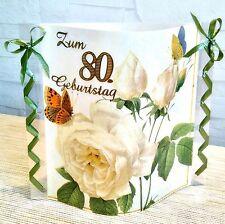 Tischdeko-Windlicht aus Servietten 80.Geburtstag -Jede andere Zahl auch möglich