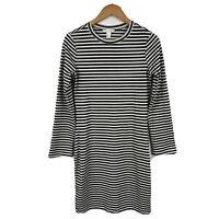 H&M Womens Pencil Dress Size Medium Slim Long Sleeve Striped Black White