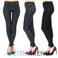 Womens Plus Size High Waisted Denim Look Blue Black Jeggings Jean Leggings