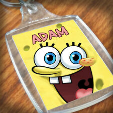 Personalised SPONGEBOB KEYRING, Lunch Bag, son daughter grandson granddaughter