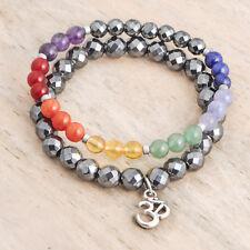 2 pcs Gemstone 7 Chakra Beaded Bracelets, Ohm Charm, Reiki, Yoga, Balance