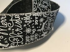 "Black with White Christmas Words Chalkboard WIRE EDGED RIBBON 2-1/2"" x 5 Yards"