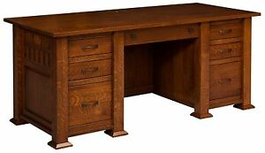 "74"" Amish Mission Executive Computer Desk Home Office Solid Wood Furniture"