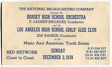 "1939 Ad Card: NBC Radio Broadcast - ""Dorsey High School Orchestra"" [Los Angeles]"