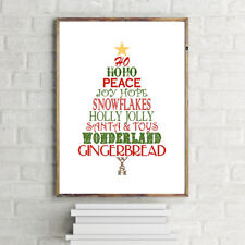 Christmas ELNO à tous Tree Typography art print poster red and green