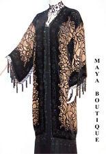 Fringe Jacket Kimono Silk Burnout Velvet Beaded Spider Black Beige Maya Matazaro