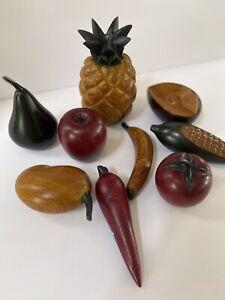Mid Century Modern 9 Pieces Wooden Fruit  Various Colors Vintage