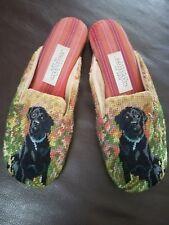 Amy Jo Gladstone Needlepoint Black Lab Dog size small slip on shoe