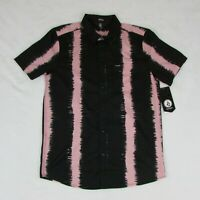 Volcom Men's Button Up Short Sleeve Black with Pink Stripes Modern Fit NEW