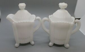 """VINTAGE IMPERIAL MILK GLASS 4-TOED LIDDED CREAM AND SUGAR - 1950/229 -  5 1/2"""" -"""