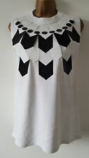 NEW ASOS Size 6-18 Monochrome Embellished Black & White Sleeveless Top Summer