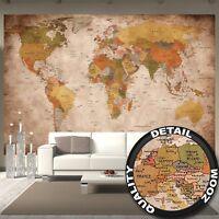 Photo Mural Wall Decoration Globe Continents Atlas World Map XXXL Retro Vintage