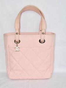 Chanel Paris Biarritz PM Pink Canvas Tote Bag