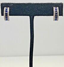 Elegant Sterling Silver 925 Princess Cut Blue Sapphire CZ Curved Post Earrings