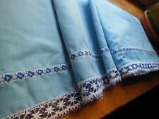 Trés large bordure étagere  bas drap rideau dentelle bleu au métre ancien 28 cm