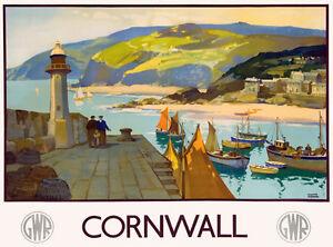 TU80 Vintage GWR Cornwall Railway Travel Poster Re-Print A2 A3