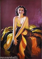 1940s Pin-Up Girl Jewel Flowers Picture Poster Print Vintage Art Pin Up