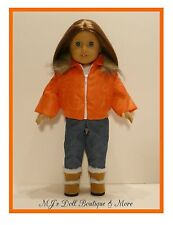 Orange Puffy Jacket Coat fits American Girl Doll