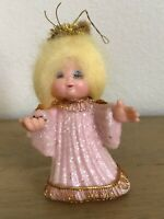 Vintage Pink Angel Blond Blue Eye Lids Glittered Christmas Ornament
