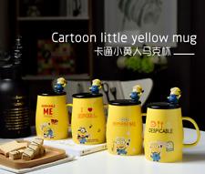 Lovely Yellow Minions coffee mug with lid&spoon Ceramic Tea milk cups Gift 450ML